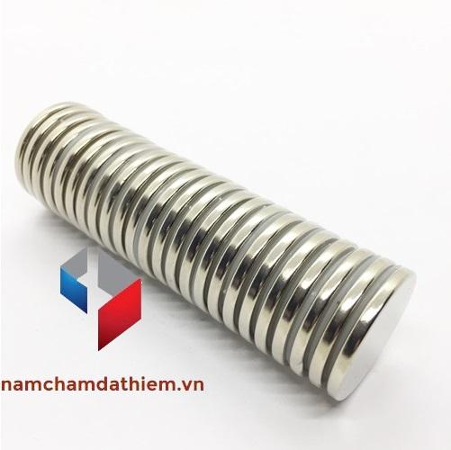 Nam châm viên tròn N35 D30x3 mm mạ nikel